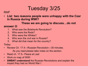 List two reasons people were unhappy with the Czar in Russia