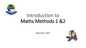 Introduction to Maths Methods 1 &2