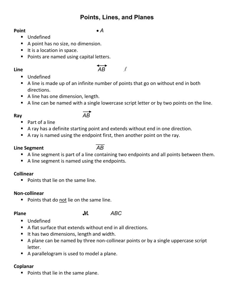Points, Lines and Planes - vocabulary sheet - doc