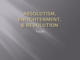 absolutism, enlightenment, and revolution vocab