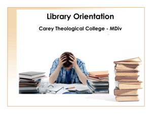 Carey (MDiv) Research Review