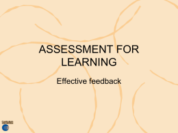 effective feedback - Curriculum Support