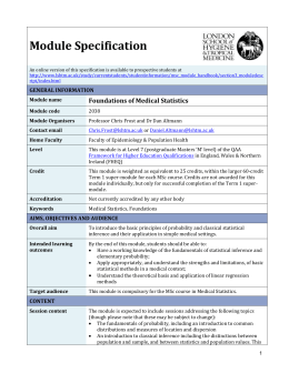 2038 Foundations of Medical Statistics Module Specification