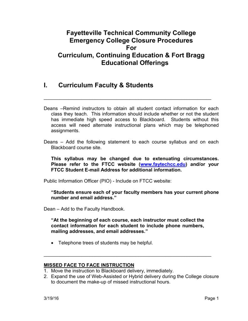 ftcc blackboard FTCC Emergency College Closure Procedures
