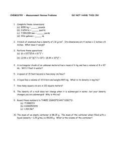 CHEMISTRY - Special Measurement Problems NAME: