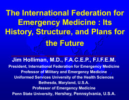 (IFEM) : Its History, Structure, and Plans : Lecture Goals Present the