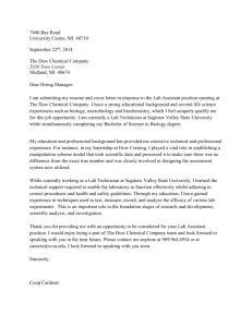 Cover Letter Template - Biology - Saginaw Valley State University
