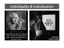 IA-17 Individuality & Individuation * Jacobs
