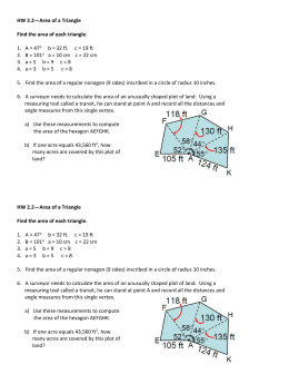HW 2.2—Area of a Triangle Find the area of each triangle. 1. A = 47
