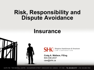 Risk Responsibility, Dispute Avoidance and Insurance 2015