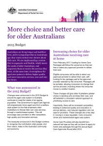 More choice and better care - Department of Social Services