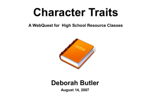 Character Traits WebQuest