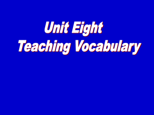 Unit 8 Teaching Vocabulary