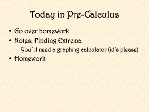 Today in Pre-Calculus Go over homework Notes: Finding Extrema