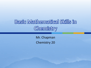 Basic Mathematical Skills in Chemistry
