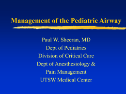 Management of the Pediatric Airway