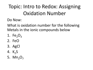 Topic: Intro to Redox: Assigning Oxidation Number