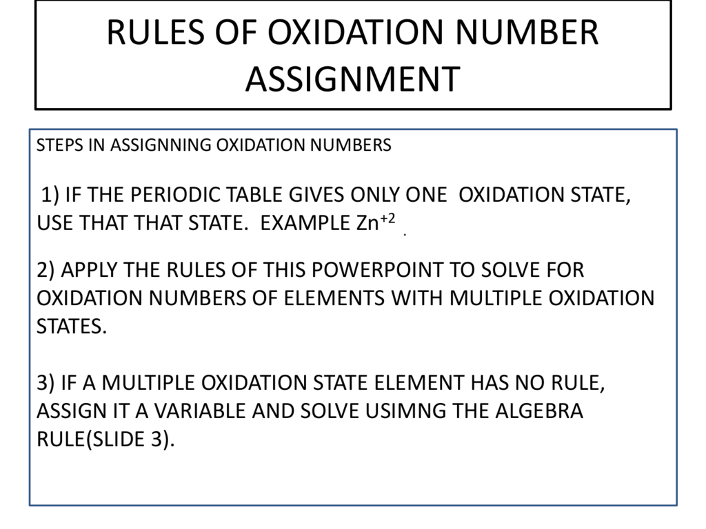 Oxidation Numbers On Periodic Table Best Table 2018