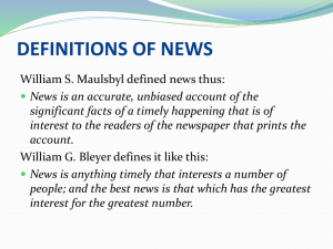 DEFINITIONS OF NEWS