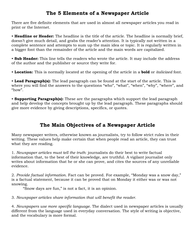 the 5 elements of a newspaper article