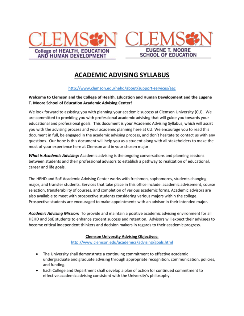 ferpa form clemson  academic advising syllabus