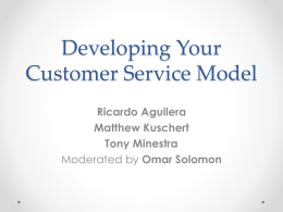 D26 – Developing Your Customer Service Model