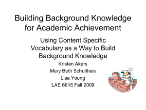 Building Background Knowledge for Academic