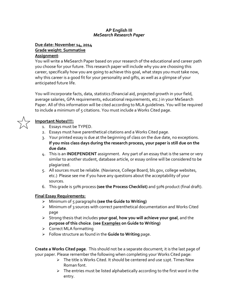 ap english research paper assignment