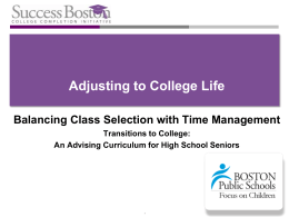 Adjusting to College Life Balancing Class Selection with Time