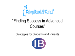 Finding Success in Advanced Courses