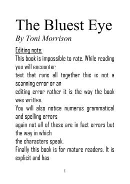 the bluest eye spring summary