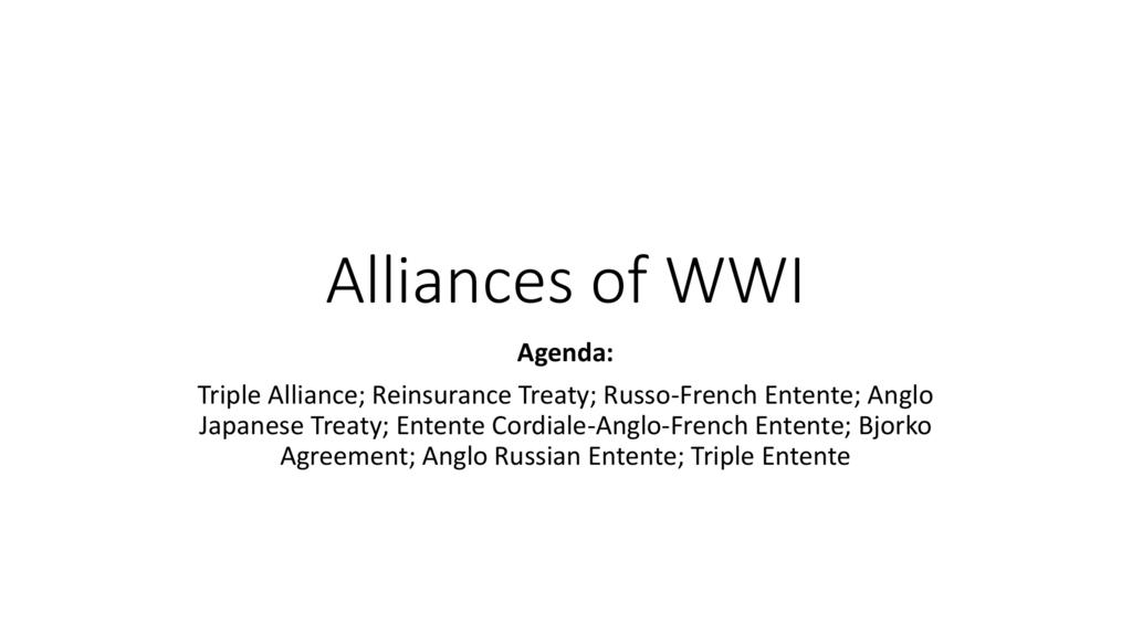 Alliances Of Wwi