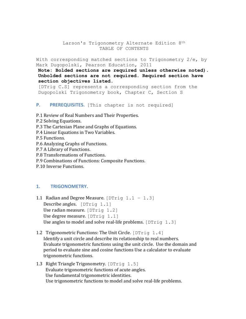 Larson's Trigonometry Alternate Edition 8 th