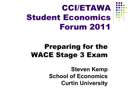 SK Preparing for WACE Economics Exam CCI Student Economic Forum