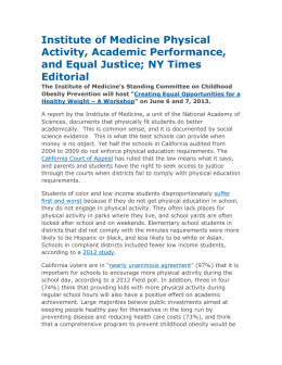 IOM Exercise and Academic Achievement