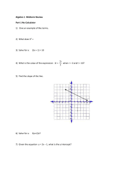 Algebra 1 Midterm Review