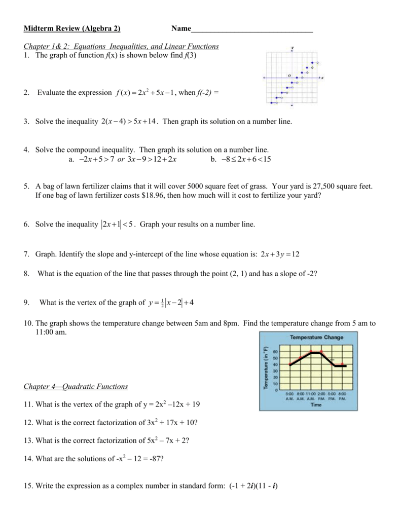Algebra 2 Midterm Review