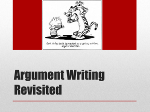Argument Writing Revisited