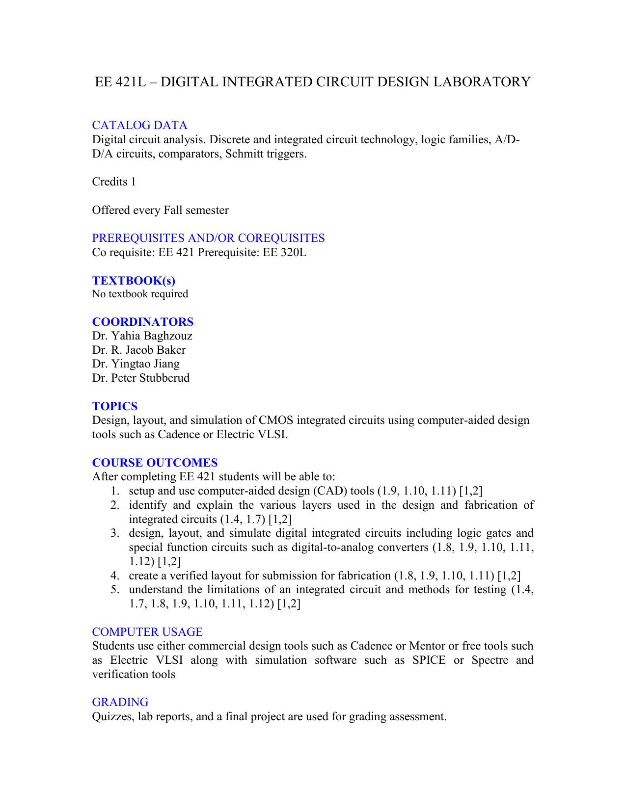 Ee 421l Digital Integrated Circuit Design Laboratory