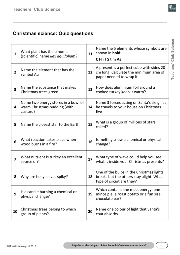 Christmas Science Quiz Questions