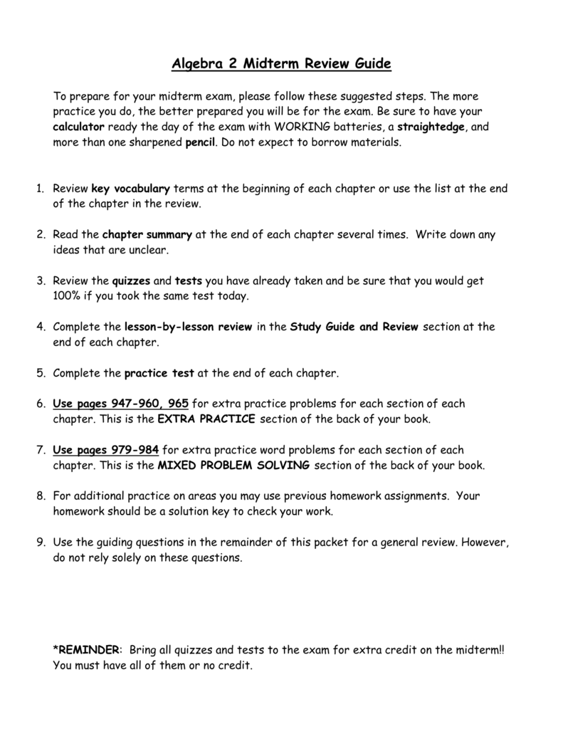 Algebra 2 Honors Midterm Review Guide