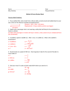 Motion & Forces Review Sheet Answer Key
