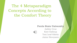 The 4 Metaparadigm Concepts According to the Comfort Theory