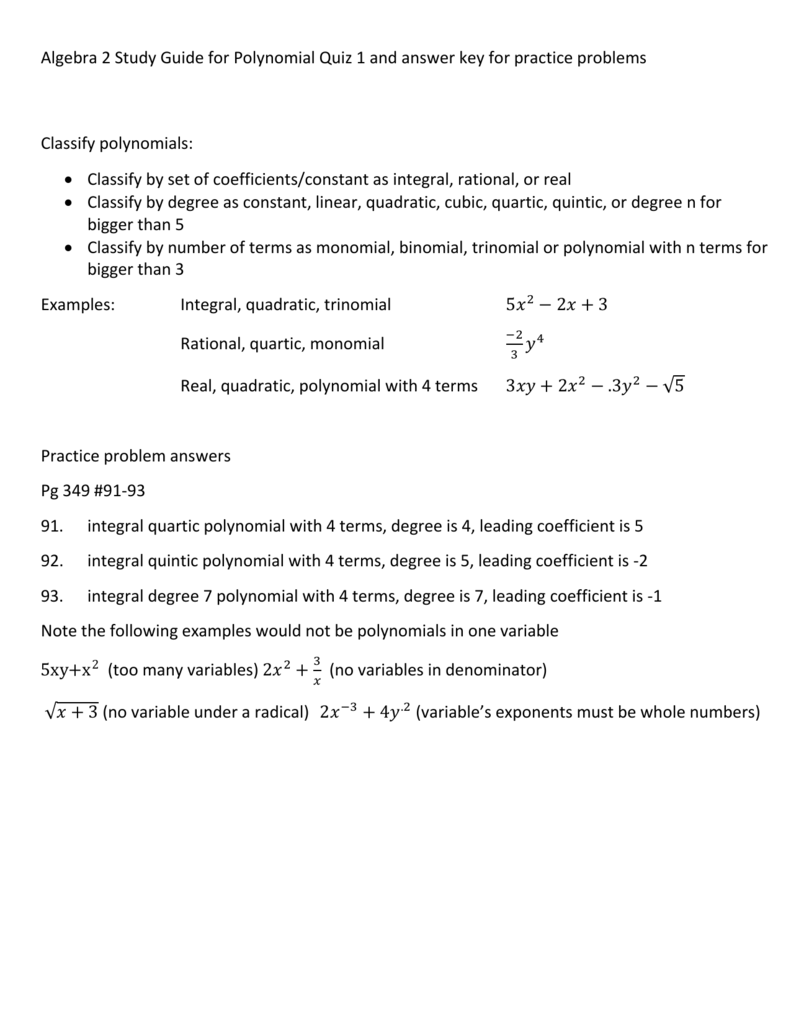 Algebra 2 Study Guide for Polynomial Quiz 1 and answer key for