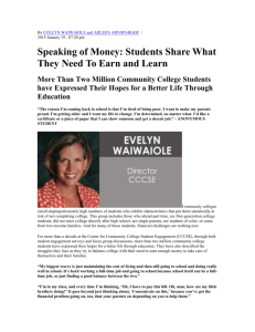 Speaking of Money: Students Share What They Need To