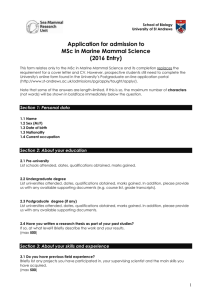 MSc in Marine Mammal Science