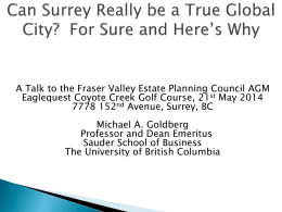 Can Surrey Really Be a World Class City?