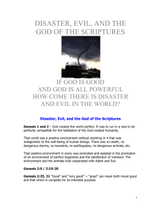 Disaster, Evil, and the God of the Scriptures