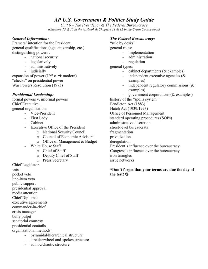 Ap Us Government Politics Study Guide