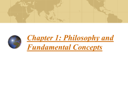 Chapter 1: Philosophy and Fundamental Concepts